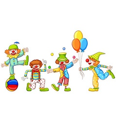 A simple drawing of four playful clowns vector image