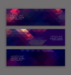 Abstract purple shapes banners template vector