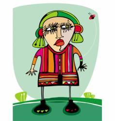 angry girl vector image