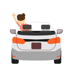 Back view car with driver icon vector