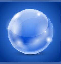 Blue glass ball 3d shiny sphere vector