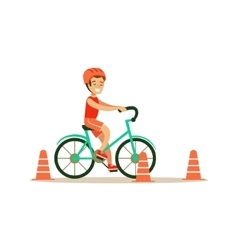 Boy Riding Bicycle Kid Practicing Different vector image vector image