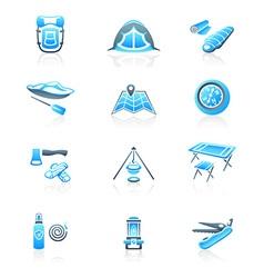 Camping icons - MARINE series vector image