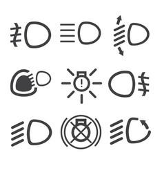 Car light dashboard icons vector