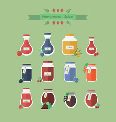 Collection of jars with juice in flat vector
