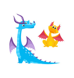 Flat cartoon dragons set with horns wings vector