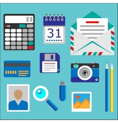 Flat designed office icons set vector image
