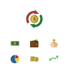 Flat icon gain set of greenback money box vector