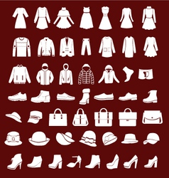 Flat women men set clothing shoes and hats vector