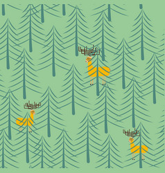 Forest and deer seamless pattern trees and elk vector