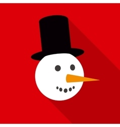 Fun Snowman Face in Flat Style with Long Shadows vector image vector image