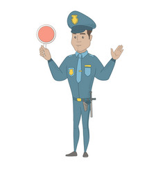 hispanic traffic policeman holding traffic sign vector image