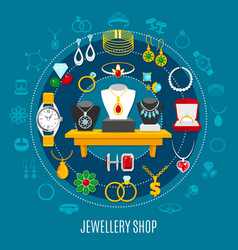 jewelry shop round composition vector image