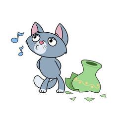 Kitten has broken a vase vector