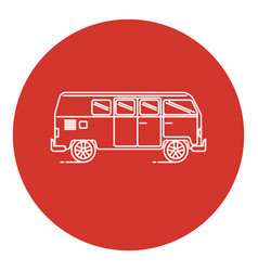 Line art style retro minivan car icon vector