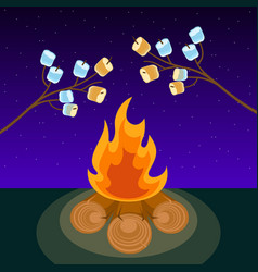 Marshmallow on skewers cooked on bonfire at night vector