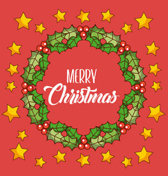 merry christmas wreath leaves berries star red vector image