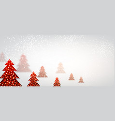 New year banner with christmas trees vector