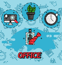 Office flat concept icons vector