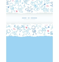 Playing children vertical torn frame seamless vector