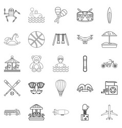 School adventures icons set outline style vector