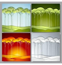 Set Abstract paper trees vector image vector image