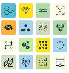 Set of 16 robotics icons includes information vector