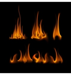 Set of Different Yellow Orange Fire Flame Bonfire vector image vector image