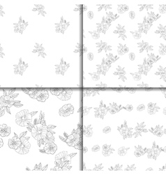 Set of four black and white floral patterns vector