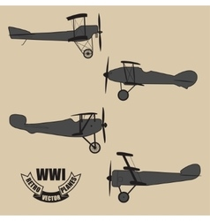 Silhouettes retro planes times of world war vector