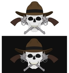 Skull in hat 2 crossed pistols emblem vector image