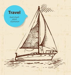 Vintage travel background with boat vector