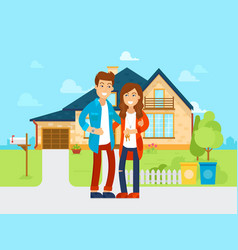 Young people bought the new house flat vector