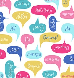 Speech bubbles with hello on different languages vector