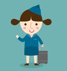 Happy air hostess vector