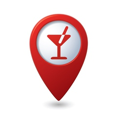 Map pointer with cocktail icon vector