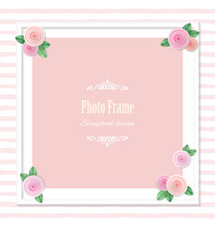 Elegant square photo frame decorated with roses on vector