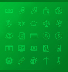 Crypto currency line icons vector