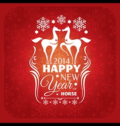 New year card with horses and snowflakes vector