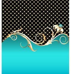 background with gold flower vector image
