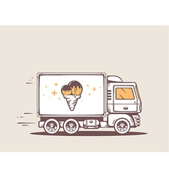Truck free and fast delivering ice cream vector