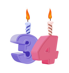 34 years birthday number with festive candle for vector
