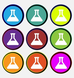 Conical flask icon sign nine multi-colored round vector