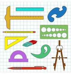 Set of school drawing accessories on cell vector image