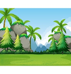 Nature scene with mountains and tree vector