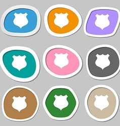 Shield icon sign multicolored paper stickers vector