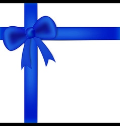 Blue ribbon on white box vector