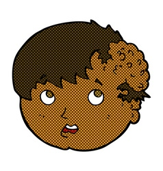 Comic cartoon boy with ugly growth on head vector