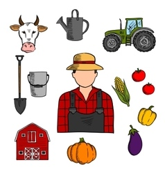 Farmer with agriculture and farming icons vector