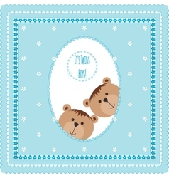 Greeting card with teddy bears and flowers vector